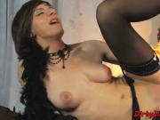 Adorable domina satisfies herself in solo