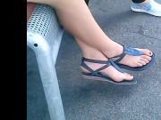 candid feet in sandals closeup waiting bus CAM06864 03.08.20
