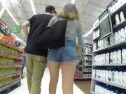 Jean shorts wedgie chick