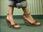 Incredible long feet and toes in very cute wedge sandals.