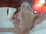 Roselyn White Pantyhose Foot Play