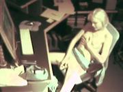 Blonde Masturbating at work.