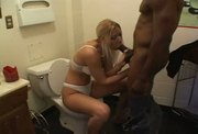 Blonde teen sucking huge black cock