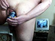 Standing anal gaping + beer can 1