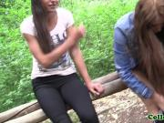 Russian college babes fingerfucked in forest