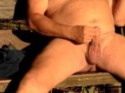 SandrotheBest cumshot in the sunlight outdoor public