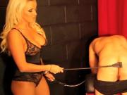 Hot blonde mistress spanks slaves ass and clamps his nipples
