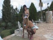 Blonde Tgirl fucks sexy brunette girl outdor