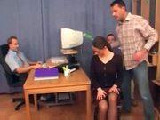 Secretary getting fucked by 3