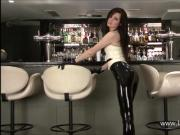 Latex fetish of sexy barmaid Anastasia in high heels