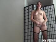 Let me rub your cock with my feet in fishnets JOI