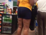 Mature Ebony MILF Booty Spandex Shorts 2