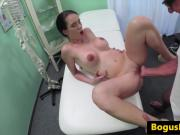 Busty euro patient fingered during exam