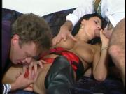 Anal threesome with busty Anika