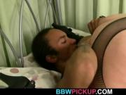 Huge boobs plumper swallows black meat