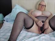 Playing with my black dildo