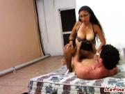 Busty Amateur Latina Takes Long Schlong In Pussy