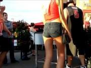 Candid Canada Slim Blonde Tiny Tight Ass In Jean Shorts VPL