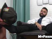 Bearded muscular freaks freaky feet are sucked on by a stud