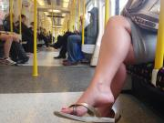 Candid Nice Feet in Flip Flops on Tube faceshot