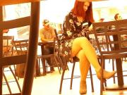 Sexy redhead coed thighs out at the mall...