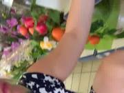upskirt culotte a rayures 1