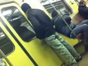 Uzbek masturbates in the subway