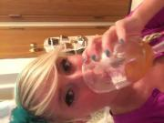 Petite Pregnant Emo Blonde Training To Drink her own Piss