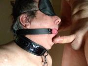 Taylor Lust makes slave suck cock and swallow cum.