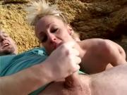 Mature blonde likes crazy sex outdoors