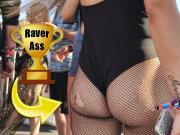 Festival Fishnets - Candid Raver Girl