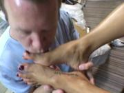 Sexy brunette gets her feet sucked on before titty and pussy fucking session