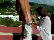 UK Couples outdoor Caribbean fuck & blowjob