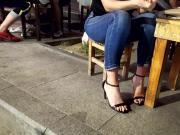 Teen sexy feets, long black toes in high heels