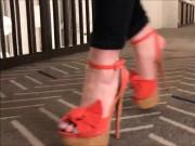 Cork Platform Suede Heels In Motion