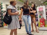 Candid voyeur hot thick ass latina tight shorts at mall