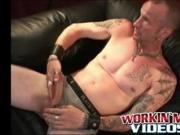 Tattooed mature gay jerks off big dick and unloads hot cum