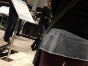 Micro mini skirt at public event!
