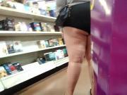 Bbw white booty cheek outta her shorts