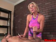 Dominant cougar masseuse dominates customer