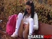 Krakenhot - Schoolgirl Outdoor. Voyeur at the park