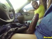 Hitchhiking babe fucked outdoors on car