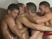 Four gay men with muscles have a hard anal session together