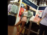 Candid voyeur tight nerdy teen with glasses amateur shopping