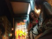 Candid teen feet flip flops subway and foot in bus stop