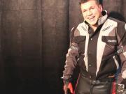 Leather biker Stud Wanking