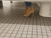 Gas Station Toilet Voyeur III Sexy Brunette Chick In Heels