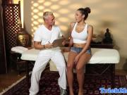 Busty ebony babe fucked by her masseur