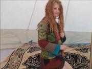 Daisy, dreadlock redhead amateur strips and plays