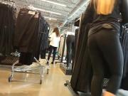 Beautiful blonde worker in store spy